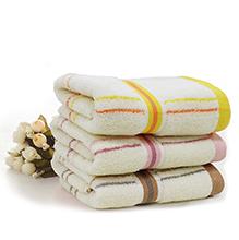 JOES 乔德素色条格纯棉毛巾三件套